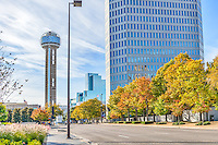 We capture this nice fall cityscape of Dallas Reunion Tower with the Hyatt Regency from a different perspective.   Love the colorful trees as you look down to see the cityscape of downtown.