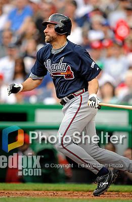 12 April 2008: Atlanta Braves' pitcher John Smoltz at bat against the Washington Nationals at Nationals Park, in Washington, DC. The Braves defeated the Nationals 10-2...Mandatory Photo Credit: Ed Wolfstein Photo