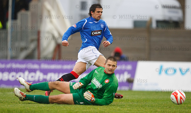 Nacho Novo beats Tomas Cerny as he scores goal no 3 for Rangers