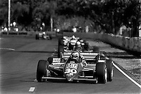 MIAMI, FL - NOVEMBER 9: Al Unser, Jr., drives his Lola T900/Cosworth en route to a third place finish in the Beatrice Indy Challenge CART IndyCar race on the temporary street circuit in Tamiami Park in Miami, Florida, on November 9, 1985.