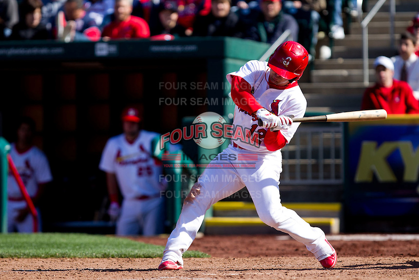 Tyler Henley (12) of the Springfield Cardinals at bat during a game against the Frisco RoughRiders on April 16, 2011 at Hammons Field in Springfield, Missouri.  Photo By David Welker/Four Seam Images