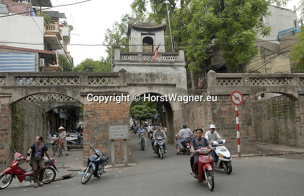 Hanoi-Vietnam, Ha Noi - Viet Nam - 21 July 2005---Two-wheel traffic at the Old East Gate into the Old Quarter ---tourism, traffic, transport, urban---Photo: © HorstWagner.eu