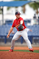 Palm Beach Cardinals relief pitcher Landon Beck (28) delivers a pitch during a game against the Charlotte Stone Crabs on April 12, 2017 at Charlotte Sports Park in Port Charlotte, Florida.  Palm Beach defeated Charlotte 8-7 in ten innings.  (Mike Janes/Four Seam Images)