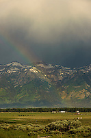 Rainbow in front of the Teton Range.