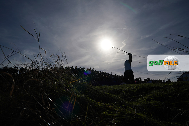 Bryson Dechambeau (Team USA) on the 13th tee during the saturday foursomes at the Ryder Cup, Le Golf National, Ile-de-France, France. 29/09/2018.<br /> Picture Fran Caffrey / Golffile.ie<br /> <br /> All photo usage must carry mandatory copyright credit (© Golffile | Fran Caffrey)
