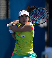 AYUMI MORITA..Tennis - Apia Sydney International -  Sydney 2013 -  Olympic Park - Sydney - NSW - Australia.Monday 7th January  2013. .© AMN Images, 30, Cleveland Street, London, W1T 4JD.Tel - +44 20 7907 6387.mfrey@advantagemedianet.com.www.amnimages.photoshelter.com.www.advantagemedianet.com.www.tennishead.net