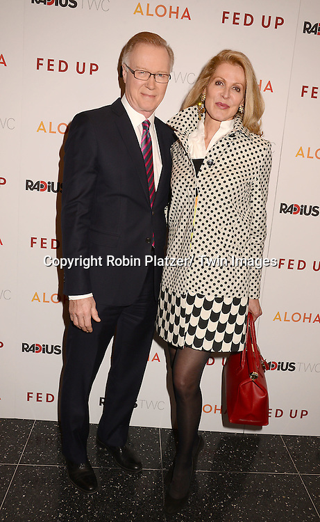 "Chuck Scarborough and wife Ellen attends the New York Premiere of ""FED UP"" on May 6, 2014 at The Museum of Modern Art in New York City."