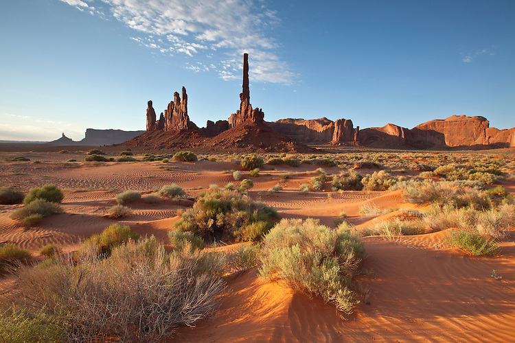 The Totem Pole and Yei Bi Chei rock formations in Monument Valley Tribal Park, Arizona