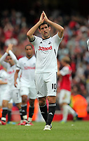 Pictured: Danny Graham of Swansea is thanking away supporters after the final whistle. Saturday 10 September 2011<br />