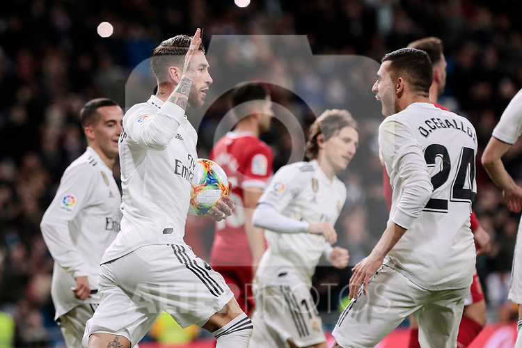 Real Madrid's Sergio Ramos (L) and Dani Ceballos (R) celebrate goal during Copa del Rey match between Real Madrid and Girona FC at Santiago Bernabeu Stadium in Madrid, Spain. January 24, 2019. (ALTERPHOTOS/A. Perez Meca)