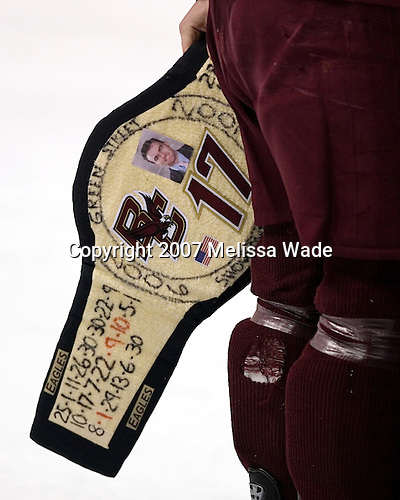 The belt was won by Aiello during the Boston College Eagles' practice on Friday, April 6, 2007, at the Scottrade Center in St. Louis, Missouri in preparation for the 2007 Frozen Four Final on April 7.