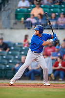 Midland RockHounds first baseman Viosergy Rosa (34) at bat during a game against the Arkansas Travelers on May 25, 2017 at Dickey-Stephens Park in Little Rock, Arkansas.  Midland defeated Arkansas 8-1.  (Mike Janes/Four Seam Images)