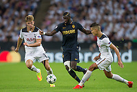Tiemoue Bakayoko (left) of Monaco moves past Eric Dier of Tottenham Hotspur during the UEFA Champions League Group stage match between Tottenham Hotspur and Monaco at White Hart Lane, London, England on 14 September 2016. Photo by Andy Rowland.
