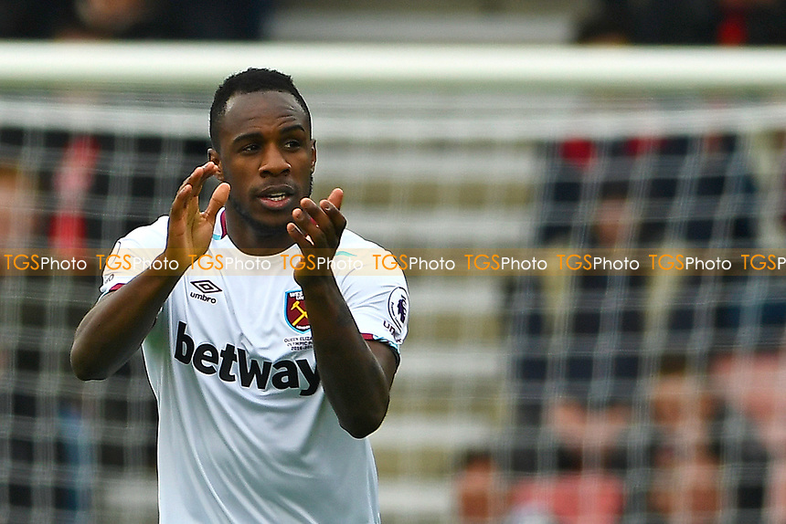 Goalscorer Michail Antonio of West Ham United applauds the travelling fans during AFC Bournemouth vs West Ham United, Premier League Football at the Vitality Stadium on 11th March 2017