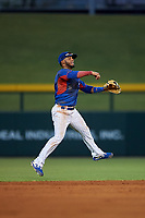 AZL Cubs 2 shortstop Josue Huma (13) throws to first base during an Arizona League game against the AZL Reds on July 23, 2019 at Sloan Park in Mesa, Arizona. AZL Cubs 2 defeated the AZL Reds 5-3. (Zachary Lucy/Four Seam Images)