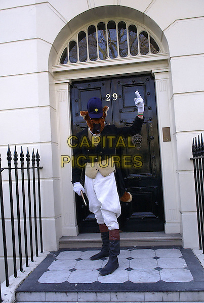 FELIX THE FOX.Outside 29 Connaught Square, the private home of Tony and Cherie Blair, London, 3rd April 2005..full length costume dressed up protest fox hunting protesting.Ref: DH.www.capitalpictures.com.sales@capitalpictures.com.©David Hitchens/Capital Pictures.