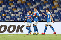 Lorenzo Insigne of SSC Napoli celebrates with team mates after scoring a goal<br /> during the Serie A football match between SSC  Napoli and SS Lazio at stadio San Paolo in Naples ( Italy ), August 01st, 2020. Play resumes behind closed doors following the outbreak of the coronavirus disease. <br /> Photo Cesare Purini / Insidefoto