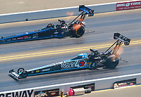 Jul 28, 2019; Sonoma, CA, USA; NHRA top fuel driver Antron Brown (near) alongside Cameron Ferre during the Sonoma Nationals at Sonoma Raceway. Mandatory Credit: Mark J. Rebilas-USA TODAY Sports