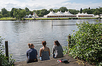 Henley on Thames. United Kingdom.  Spectators, sitting watching the training on Henley Reach. Monday,  27/06/2016,   16:50:34   2016 Henley Royal Regatta, Henley Reach.   [Mandatory Credit Peter Spurrier/ Intersport Images]
