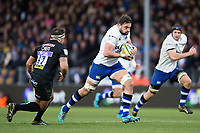 Elliott Stooke of Bath Rugby goes on the attack. Aviva Premiership match, between Exeter Chiefs and Bath Rugby on December 2, 2017 at Sandy Park in Exeter, England. Photo by: Patrick Khachfe / Onside Images