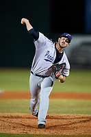 Pensacola Blue Wahoos relief pitcher Jake Ehret (12) delivers a pitch during a game against the Mobile BayBears on April 25, 2017 at Hank Aaron Stadium in Mobile, Alabama.  Mobile defeated Pensacola 3-0.  (Mike Janes/Four Seam Images)