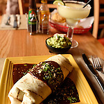 A signature burrito at David Starkey's famed Mexican restaurant Tomatillo, in Dobbs Ferry, New York.