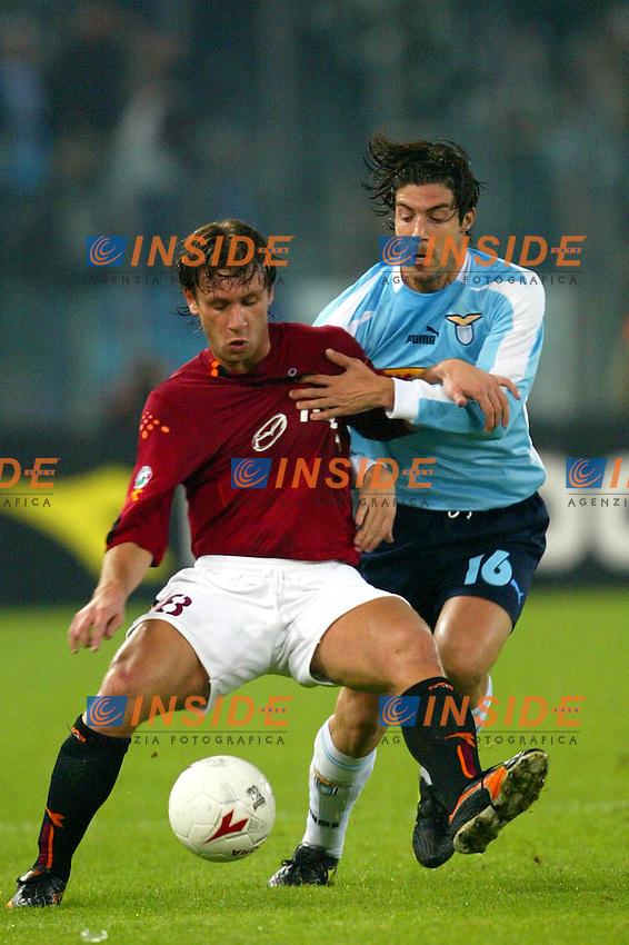 Roma 9/11/2003 <br /> Roma Lazio 2-0 <br /> Antonio Cassano (Roma) e Giuliano Giannichedda (Lazio)<br /> Foto Andrea Staccioli Insidefoto