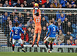 16.02.2019: Rangers v St Johnstone: Wes Foderingham collects the ball as it hits the crossbar from Blair Alston's effort