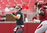 Hawgs Illustrated/BEN GOFF <br /> Ben Hicks, Arkansas quarterback, throws the ball in the first quarter Saturday, April 6, 2019, during the Arkansas Red-White game at Reynolds Razorback Stadium.