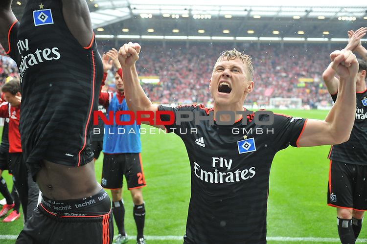 03.05.2015, cofacearena, Mainz, GER, FSV Mainz 05 vs. Hamburger SV, im Bild: Jubel bei Matthias Ostrzolek (#22, Hamburger SV)<br /> <br /> Foto &copy; nordphoto / Fabisch