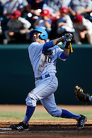 Pat Valaika #10 of the UCLA Bruins bats against the Oklahoma Sooners at Jackie Robinson Stadium on March 9, 2013 in Los Angeles, California. (Larry Goren/Four Seam Images)