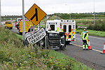 Single vehicle rta on the South Bound Carraigeway of the M1 At the Gormanstown interchange. the Vehicle originally travelling in an northerly direction crashed through the central reversation and crashed into a lamp post on the opposite seide of the carriage way. Two units from the Drogheda fire and rescue service and one unit from Balbriggan fire service attended the scene...Photo: Newsfile / Fran Caffrey.