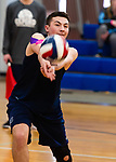OXFORD,  CT-041519JS12- Oxford's Ryan Reynolds (3) bumps the ball during their match with Joel Barlow Monday at Oxford High School. <br /> Jim Shannon Republican American