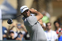 Dustin Johnson (USA) on the 1st tee during the final round of  the Saudi International powered by Softbank Investment Advisers, Royal Greens G&CC, King Abdullah Economic City,  Saudi Arabia. 02/02/2020<br /> Picture: Golffile | Fran Caffrey<br /> <br /> <br /> All photo usage must carry mandatory copyright credit (© Golffile | Fran Caffrey)