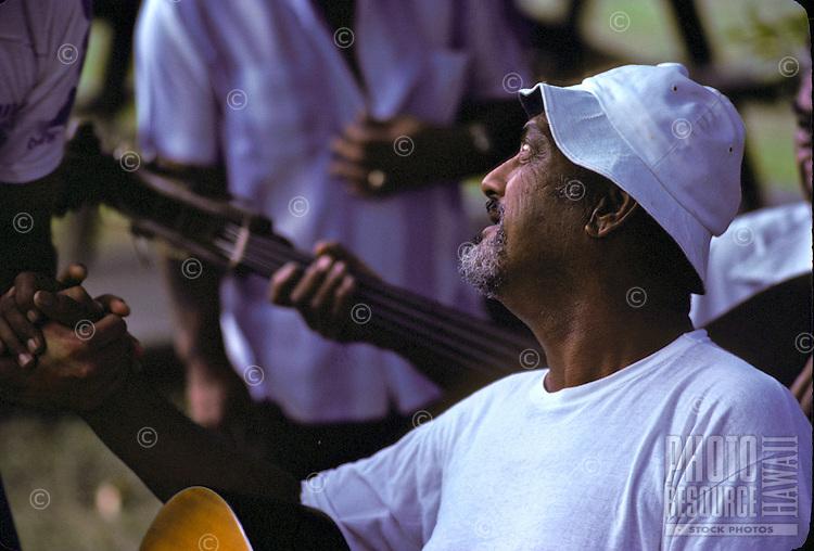 Gabby Pahinui playing slack key guitar