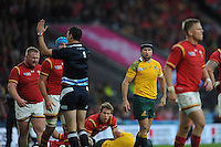 Matt Giteau of Australia disagrees with Referee Craig Joubert of South Africa  during Match 35 of the Rugby World Cup 2015 between Australia and Wales - 10/10/2015 - Twickenham Stadium, London<br /> Mandatory Credit: Rob Munro/Stewart Communications