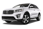 Stock pictures of low aggressive front three quarter view of a 2015 KIA Sorento Fusion AWD 5 Door Suv Low Aggressive