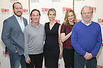 Darren Goldstein, Richard Thomas, Cynthia Nixon, Laura Linney and Michael McKean attend the cast photo call for the Manhattan Theatre Club's New Broadway Production of 'The Little Foxes' at the MTC Rehearsal studios on February 27, 2017 in New York City.