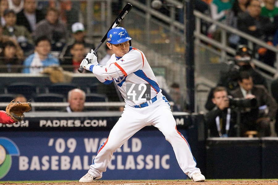 15 March 2009: #16 Ki Hyuk Park of Korea is seen at bat during the 2009 World Baseball Classic Pool 1 game 2 at Petco Park in San Diego, California, USA. Korea wins 8-2 over Mexico.