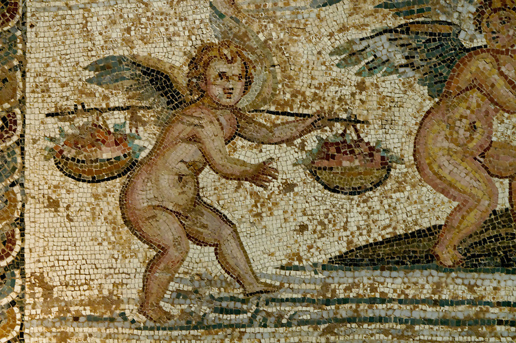 Musee arch&eacute;ologique de Tripoli. Mosaique,epoque romaine. anges , cupidons chevauchant  dauphins et amphores <br />