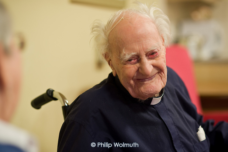 Reverend Reg Dean, the oldest man in the UK (108), Waltham House Extra Care sheltered housing scheme, Winksworth, Derbyshire, run by Housing 21.