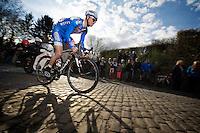 Nico Sijmens (BEL) over the cobbles of the Côte de la Roquette<br /> <br /> GP Le Samyn 2014