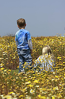Mission Bay, Sunday April 20, 2008.  Children look for Lady Bugs in the numerous flowers blooming around Mission Bay.