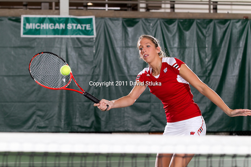 Wisconsin Badgers Alaina Trgovich at the Nielsen Tennis Center on September 26, 2011. (Photo by David Stluka).