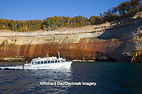 64745-00202 Tour Boat Pictured Rocks National Lakeshore in fall from Lake Superior near Munising MI