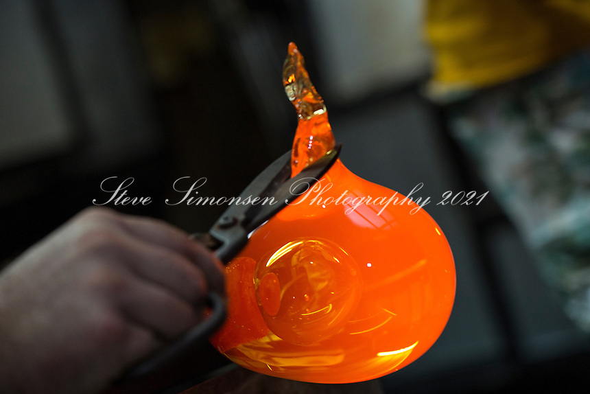Glass blowing at Maho Bay Camps<br /> Guest artist Charles Lowrie<br /> St. John<br /> U.S. Virgin Islands