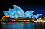 Sydney Opera House illuminated during Vivid Light Festival.