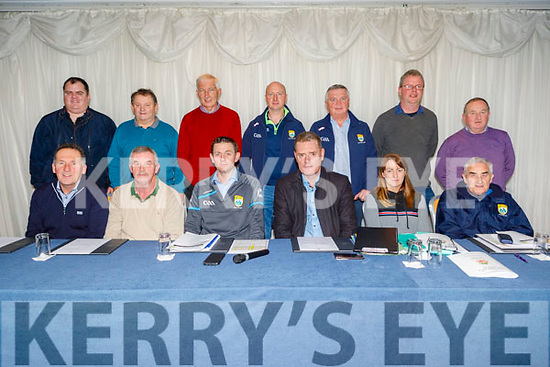 The Officers of Coiste na nÓg Chiarraí at their AGM in the Rose Hotel on Tuesday night.Seated l to r: Ger Hussey (Hurling Co-Ordinator, St Brendans), Derek Daly (Treasurer, Churchill) , Tommy Cronin (Chairman, Fossa), <br /> Tim Murphy (Kerry Co Comm Chairman), Mags Evans (Secretary, Keel) and Billy Broderick (CCC Committee, Desmonds).<br /> Standing l to r: Patrick Corridon (U12 Hurling Hurling, Ballyheigue, Timmy Weir (U16 Hurling, Abbeydorney), Kieran Coffey (Registrar, Fossa), Martin Sheehy (Vice Chair, Ballydonoghue), Damien McCarthy (PRO, Miltown/Castlemaine) and Mike Hussey (Asst Treasurer, Ballyduff).