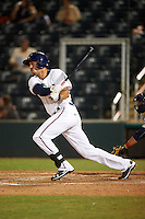 Fort Myers Miracle right fielder Chad Christensen (9) at bat during a game against the Brevard County Manatees on April 13, 2016 at Hammond Stadium in Fort Myers, Florida.  Fort Myers defeated Brevard County 3-0.  (Mike Janes/Four Seam Images)