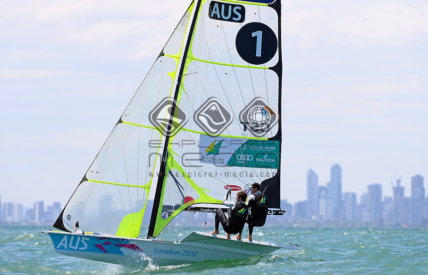 49er / Nathan OUTTERIDGE &amp; Iain JENSEN (AUS)<br /> 2013 ISAF Sailing World Cup - Melbourne<br /> Sail Melbourne - The Asia Pacific Regatta<br /> Sandringham Yacht Club, Victoria<br /> December 1st - 8th 2013<br /> &copy; Sport the library / Jeff Crow